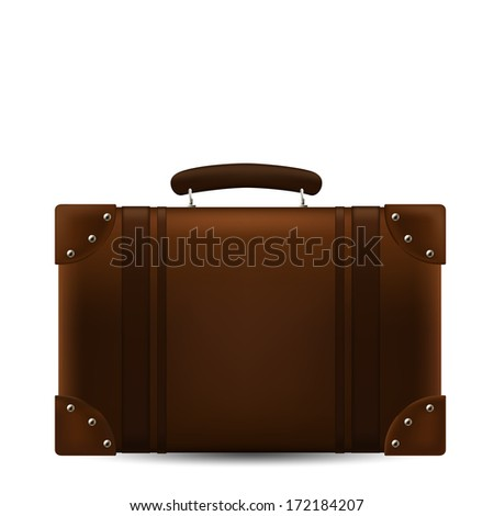 Brown Travel Suitcase. Vector Illustration - stock vector