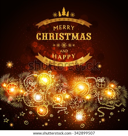 Brown vector Christmas background with a picture of a Christmas garland, boughs of spruce, balls - stock vector