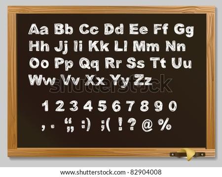 Brown Wood school desks set and hand-drawn chalk alphabet - stock vector