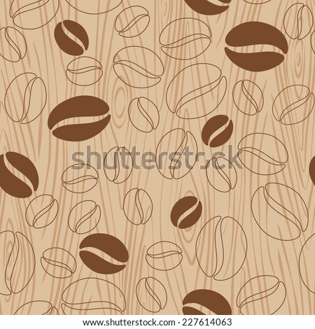 Brown wooden background with coffee beans pattern. Vector illustration. - stock vector