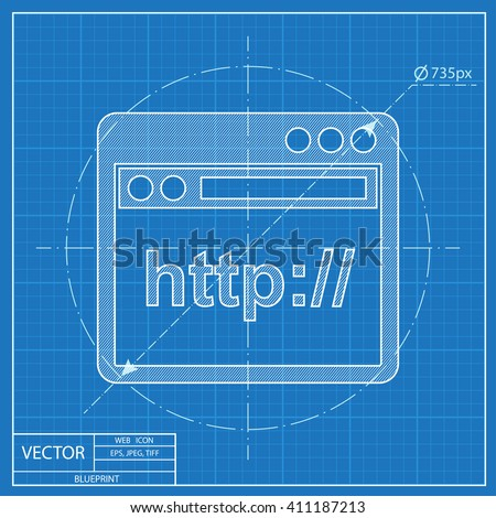 browser application window icon. Blueprint style - stock vector