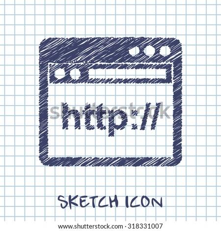 browser application window vector sketch icon  - stock vector