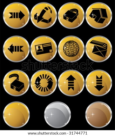 Browser Icon Set Round Metal - stock vector