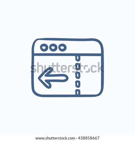 Browser window with arrow left vector sketch icon isolated on background. Hand drawn Browser window with arrow left icon. Browser window with arrow left sketch icon for infographic, website or app. - stock vector
