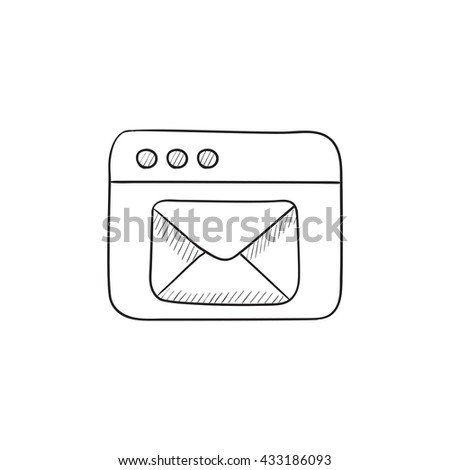 Browser window with electronic mail vector sketch icon isolated on background. Hand drawn Browser window with email icon. Browser window with email sketch icon for infographic, website or app. - stock vector