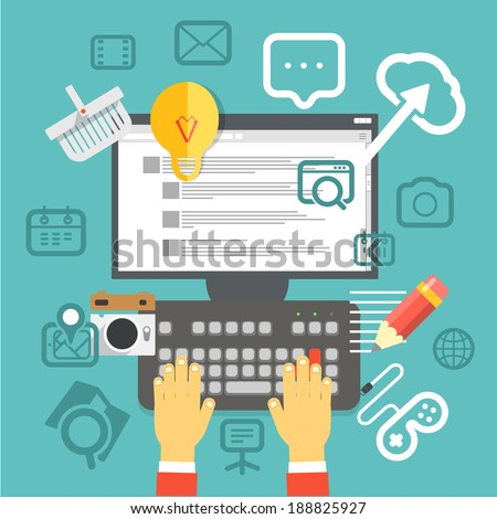 Browser window with modern interface. Social media concept - stock vector