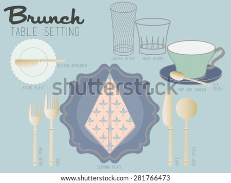 BRUNCH TABLE SETTING Bohemian collection tableware are set one the table for brunch serving. mixed and matched style composed of crystal glass, colorful chinaware and nickel silverware. - stock vector