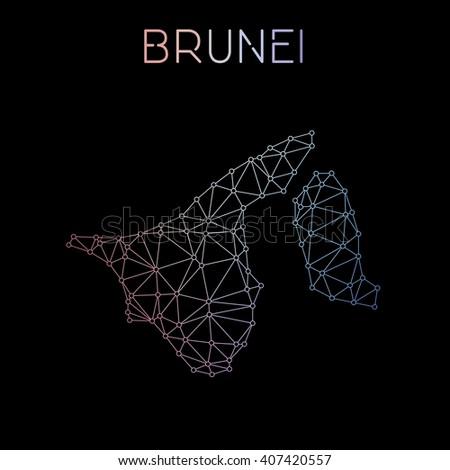 Brunei Darussalam network map. Abstract polygonal Brunei Darussalam network map design. Map of Brunei Darussalam network connections. Vector illustration. - stock vector