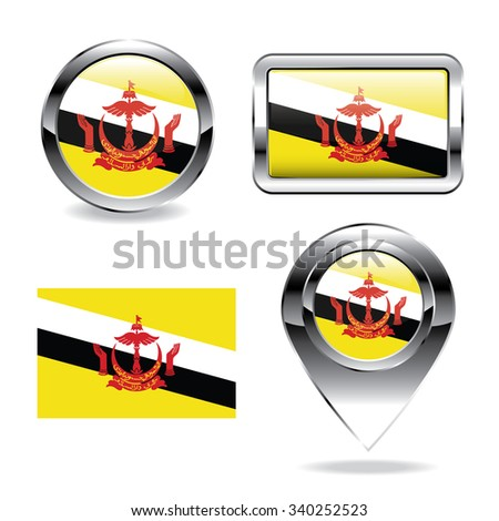 Brunei flag icons chrome set, generated 3D photo rendering. - stock vector
