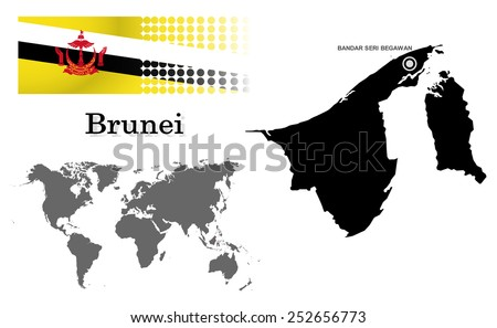 Brunei info graphic with flag , location in world map, Map and the capital ,Bandar seri begawan, location.(EPS10 Separate part by part) - stock vector