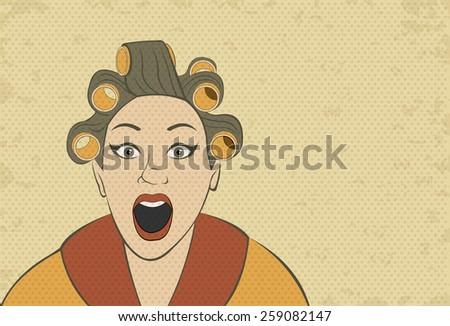 Brunette retro woman screaming. Vintage art. - stock vector