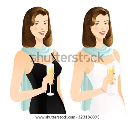 Brunette smiling woman with champagne - stock vector