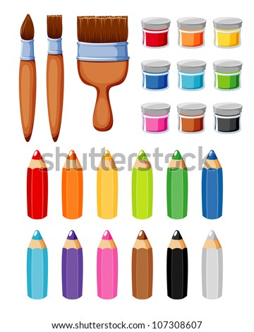 Brush and color - stock vector