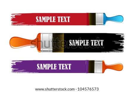 Brush and  paint stroke vector banners - stock vector