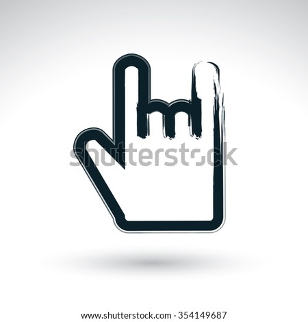 Brush drawing love rock simple vector icon, hand-painted rocker symbol, isolated on white background. Rock hand gesture created with real hand drawn ink brush, scanned and vectorized. - stock vector