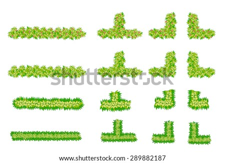 Brush, plant , flower item top view for landscape design - stock vector