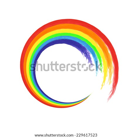 Brush stroke rainbow circle on white background  for your design. Watercolor. Vector illustration - stock vector