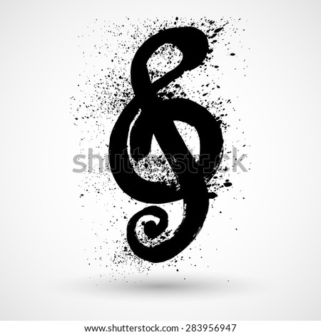 Brushed Clef, Music Key. Grunge style vector - stock vector