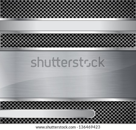 Brushed metal on textured metallic background. Abstract background. Vector illustration - stock vector