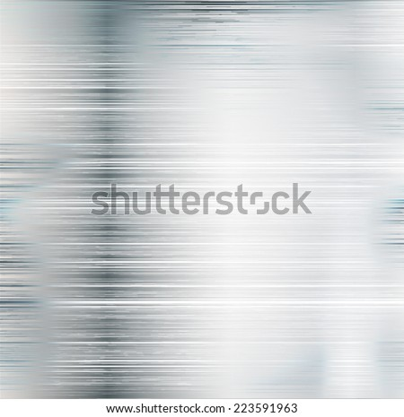 Brushed Metal Texture with Reflections and Highlights , Silver Background , Aluminum Background , Steel Background , Vector Illustration .  - stock vector