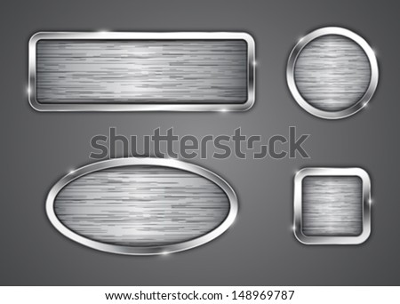 Brushed metallic buttons. Icons. Vector illustration - stock vector