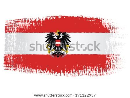 brushstroke flag Austria with transparent background - stock vector