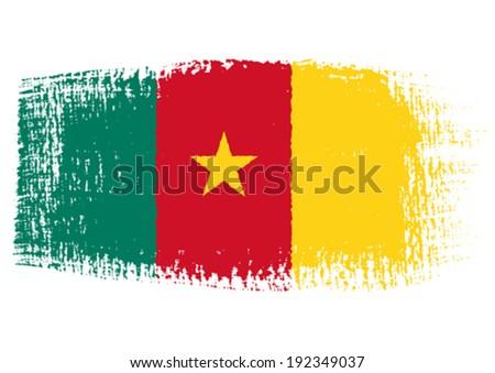 brushstroke flag Camerun - stock vector