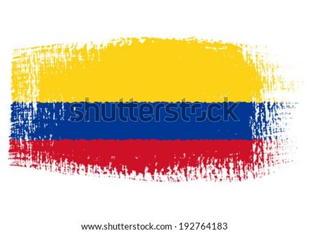 brushstroke flag Colombia - stock vector