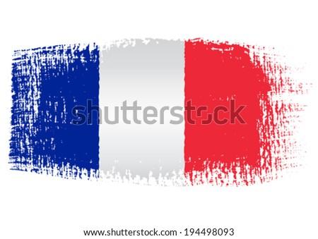 brushstroke flag France - stock vector