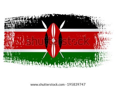 brushstroke flag Kenya - stock vector