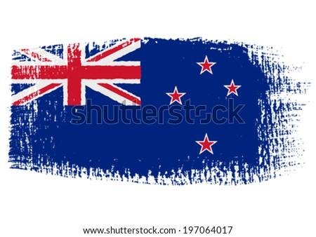 brushstroke flag New Zealand - stock vector
