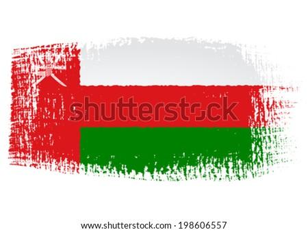 brushstroke flag Oman - stock vector