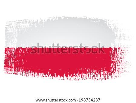 brushstroke flag Poland - stock vector