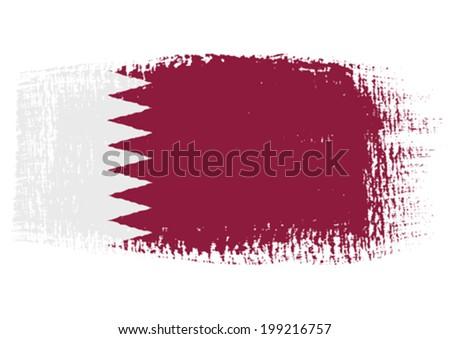 brushstroke flag Qatar - stock vector