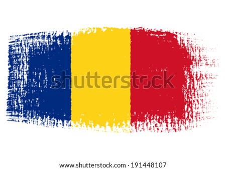 brushstroke flag Romania with transparent background - stock vector