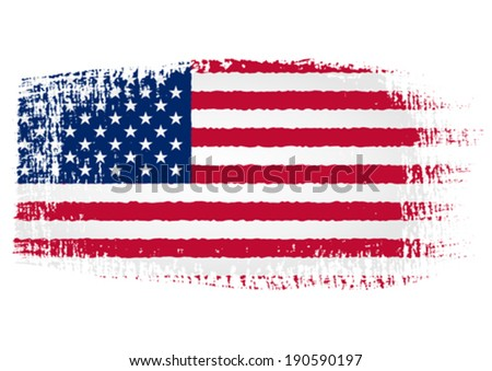 Brushstroke Flag United States with transparent background - stock vector