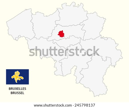 brussels-capital region administrative map with flag - stock vector