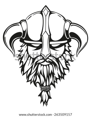 Brutal viking warrior monochrome contours illustration. Viking's head with a horned helmet and a beard. Vector illustration. - stock vector