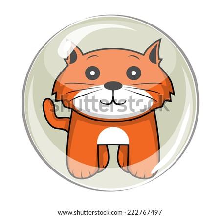 bubble cat - stock vector