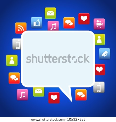 Bubble dialog social media with environmental icons . Vector file available. - stock vector