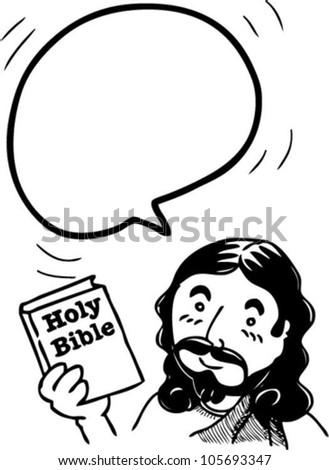 bubble speech from Jesus holding Bible - stock vector