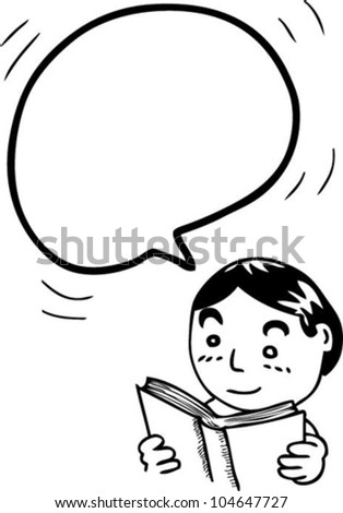 bubble speech from reading boy - stock vector