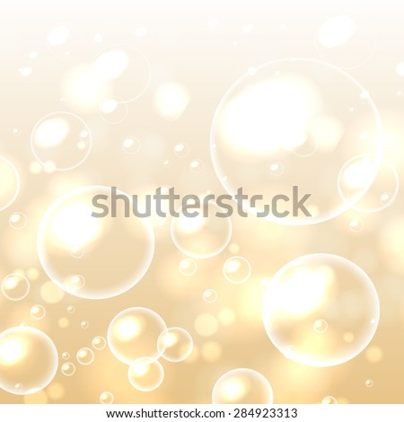 Bubbles in water on gold background horizontal seamless pattern. Circle and liquid, light design, clear soapy shiny, vector illustration - stock vector