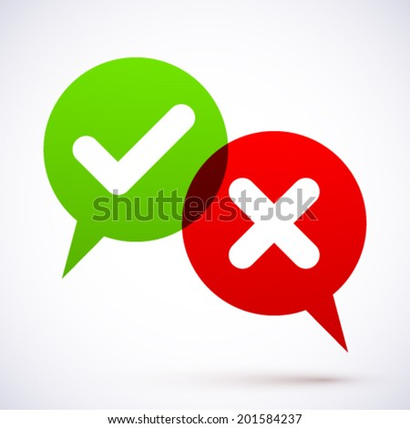 Bubbles with check and cross symbols. - stock vector