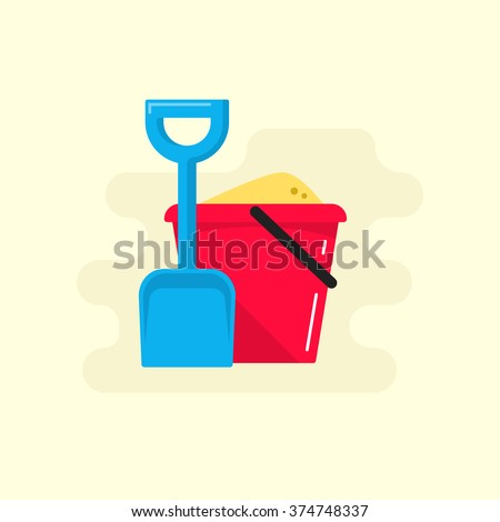 Bucket and spade with sand vector illustration flat icon isolated, kid toys tools symbol, pail shovel label, bucket and spade modern design banner, sandbox place sign ribbon design concept - stock vector