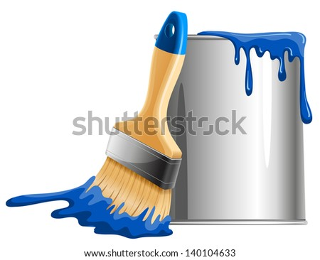 Bucket of blue paint and brush. Vector illustration. - stock vector