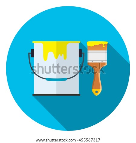 Bucket of paint and brush icon with long shadow. Vector illustration in flat style - stock vector