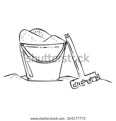 Bucket with Sand Doodle - stock vector