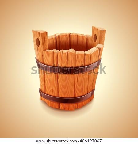 bucket wood vintage - stock vector