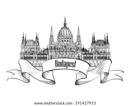 Budapest city symbol. Budapest Parliament Building, Hungary. Hand drawing vector sketch - stock vector
